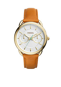Fossil® Women's Tailor Brown Leather Multifunction Watch