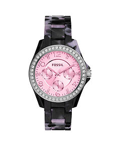 Fossil® Women's Riley Black Tortoise Multifunction Bracelet Watch