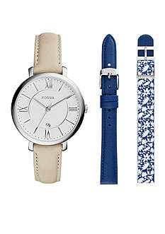 Fossil® Women's Jacqueline Watch with Interchangeable Leather Straps Box Set