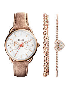 Fossil Women's Tailor Sand and Rose Watch and Bracelet Box Set