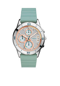 Fossil® Women's Modern Pursuit Seaglass Blue Silicone Strap Chronograph Watch