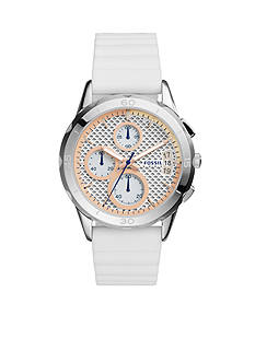 Fossil® Women's Modern Pursuit White Silicone Strap Chronograph Watch