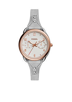 Fossil® Women's Tailor Multifunction Iron Leather Watch
