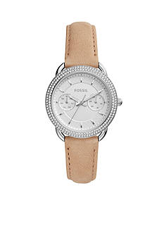 Fossil® Women's Tailor Multifunction Light Brown Leather Watch