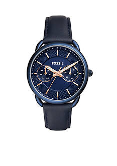 Fossil Women's Tailor Multifunction Blue Leather Watch