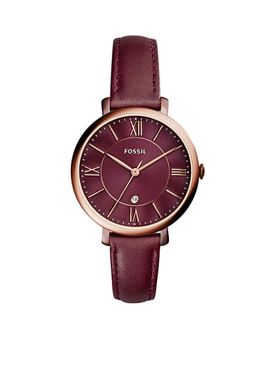 Fossil® Women's Jacqueline Three-Hand Date Wine Leather Watch