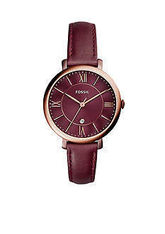 Fossil Women's Jacqueline Three-Hand Date Wine Leather Watch