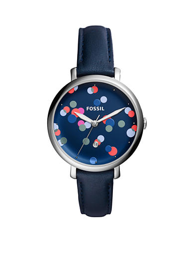 Fossil® Women's Jacqueline Three-Hand Blue Leather Watch