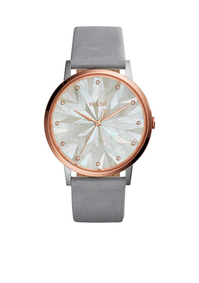 Fossil® Women's Vintage Muse Three-Hand Graystone Leather Watch