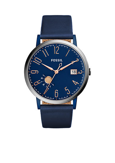 Fossil® Vintage Muse Three-Hand Date Blue Leather Watch