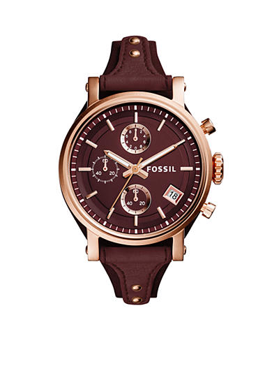 Fossil Women's Original Boyfriend Sport Chronograph Wine Leather Watch