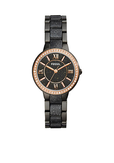 Fossil® Women's Virginia Three-Hand Black Stainless Steel and Glitter Acetate Watch