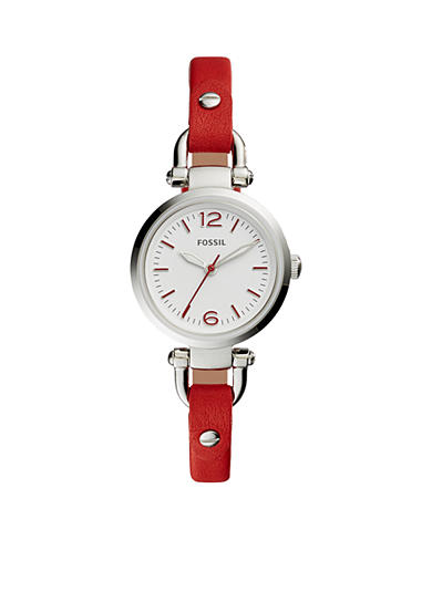 Fossil® Women's Georgia Mini Three-Hand Red Leather Watch