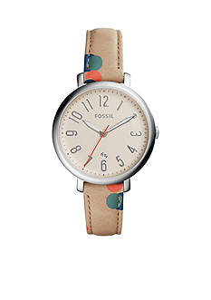 Fossil® Women's Jacqueline Three-Hand Date Polka Dot Leather Watch