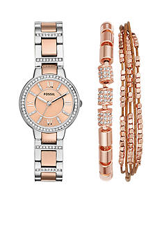 Fossil Women's Virginia Three-Hand Two-Tone Stainless Steel Watch and Jewelry Box Set