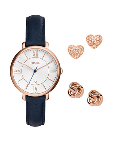 Fossil® Women's Jacqueline Three-Hand Date Blue Leather Watch and Earrings Box Set