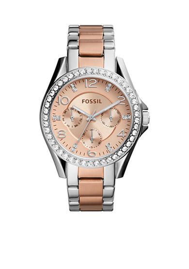 Fossil® Women's Riley Multifunction Two-Tone Stainless Steel Watch