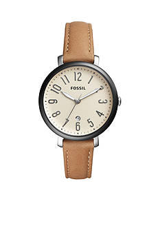 Fossil® Women's Jacqueline Three-Hand-Date Leather Watch