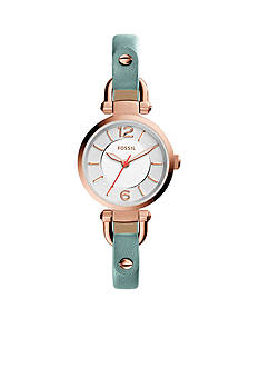 Fossil® Women's Georgia Mini Three-Hand Leather Watch