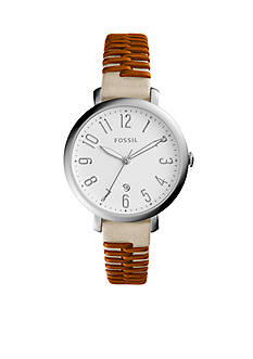 Fossil® Jacqueline Three-Hand Date Two-Tone Leather Watch
