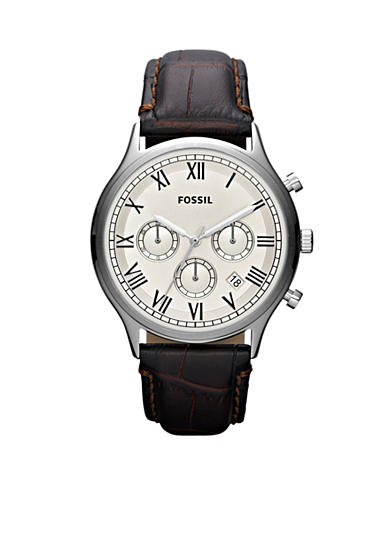 Fossil® Men's Brown Faux Crocodile Embossed Leather Strap Ansel Chronograph Watch