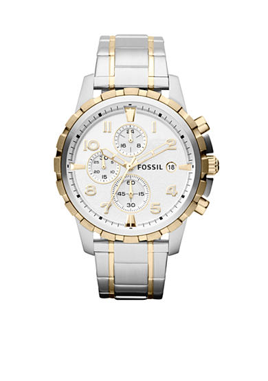 Fossil® Men's Silver-Tone and Gold-Tone Stainless Steel Dean Chronograph Watch