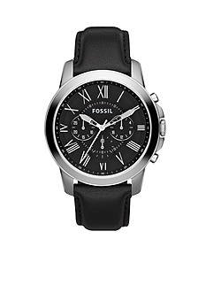 Fossil® Mens Stainless Steel and Black Leather Grant Chronograph Watch