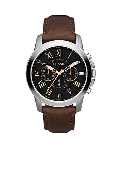 Fossil® Men's Grant Brown Leather Watch