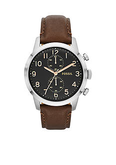 Fossil® Men's Brown Leather and Silver-Tone Stainless Steel Chronograph Townsman Watch