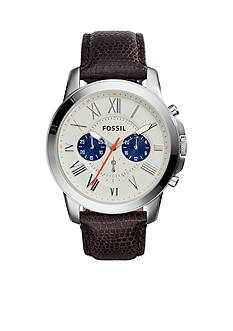 Fossil® Men's Black Leather Grant Chronograph Watch