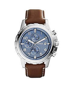 Fossil Men's Brown Leather Dean Chronograph Watch