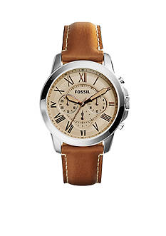 Fossil Men's Grant Brown Leather Chronograph Watch