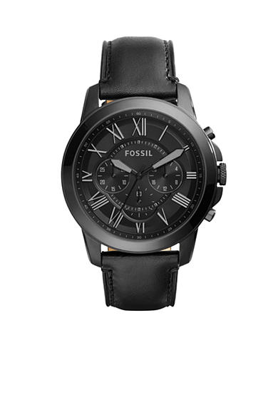 Fossil® Men's Grant Black Leather Chronograph Watch
