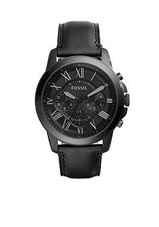 Fossil Men's Grant Black Leather Chronograph Watch