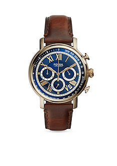 Fossil® Men's Buchanan Gold-Tone Brown Leather Strap Chronograph Watch