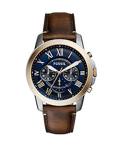 Fossil® Men's Grant Brown Leather Strap Chronograph Watch