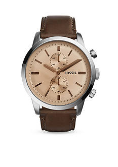 Fossil® Men's Townsman Stainless Steel Brown Leather Chronograph Watch