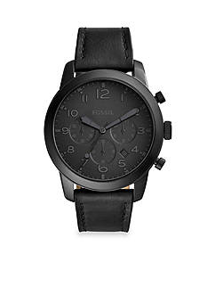 Fossil® Men's Pilot 54 Black Leather Chronograph Watch