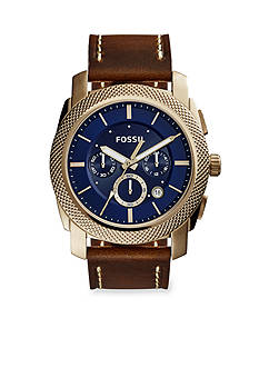 Fossil® Men's Gold-Tone Machine Brown Leather Strap Chronograph Watch