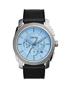 Fossil® Men's Machine Black Leather Strap Chronograph Watch