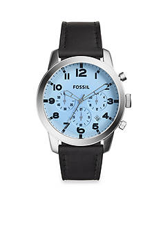 Fossil® Men's Grant Black Leather Strap with Blue Tinited Crystal Three-Hand Watch