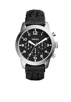 Fossil® Men's Pilot 54 Chronograph Black Leather Watch