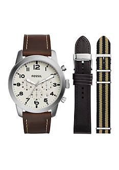 Fossil® Men's Pilot 54 Chronograph Watch with Leather and Nylon Interchangeable Straps Set