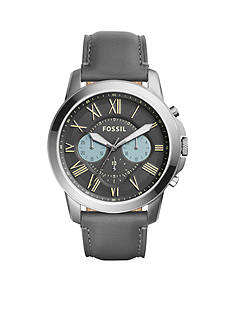 Fossil Men's Grant Chronograph Gunmetal Leather Watch