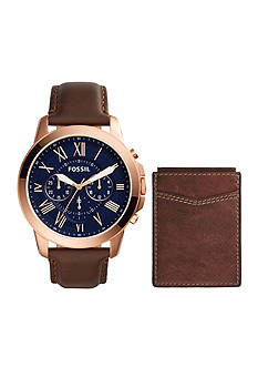 Fossil® Men's Grant Chronograph Brown Leather Watch and Wallet Boxed Set
