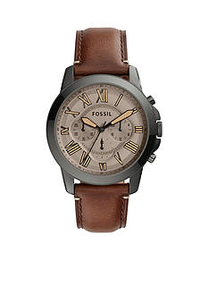 Fossil® Men's Grant Dark Brown Leather Watch