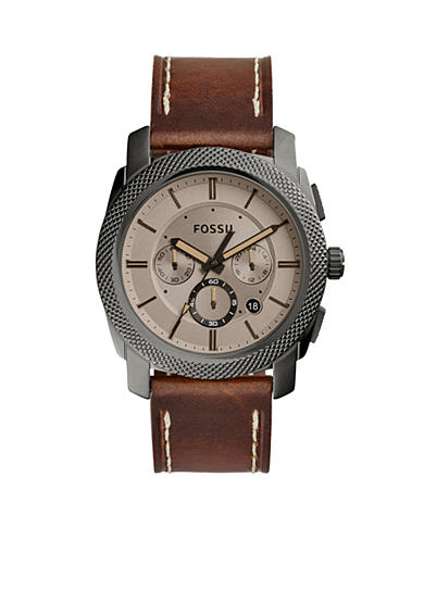 Fossil® Men's Machine Brown Leather Watch