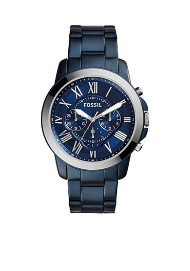 Fossil® Men's Grant Blue-Tone Stainless Steel Watch