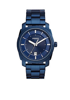 Fossil® Machine Three-Hand Date Blue-Tone Stainless Steel Watch