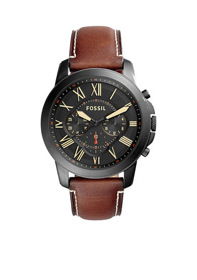 Fossil® Grant Chronograph Luggage Leather Watch